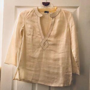 100% Linen Ann Taylor Cream colored Tunic